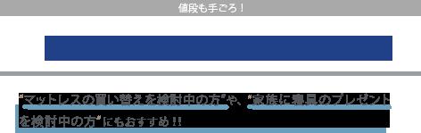 """値段も手ごろ! ¥40,000円 - ¥140,000円(+税) """"マットレスの買い替えを検討中の方""""や、""""家族に寝具のプレゼントを検討中の方""""にもおすすめ!!"""