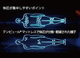 【コンピュータによる圧力マッピング】 体圧分散力の低いマットレスに比べ、テンピュール®マットレスは体圧の集中をほぼ取り除いている