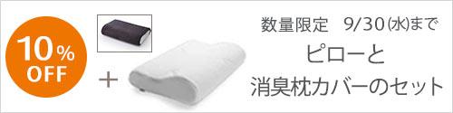 数量限定 人気ピローとエアーかおる消臭枕カバーのセット 9月30日(水)まで 10%OFF